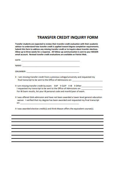 transfer credit inquiry form