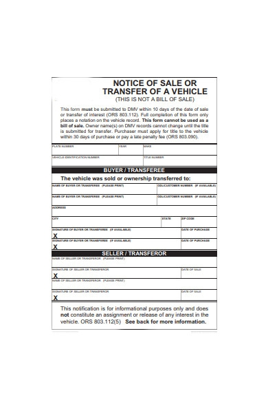 transfer sale form