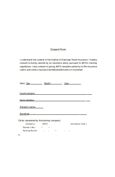 travel insurance consent form