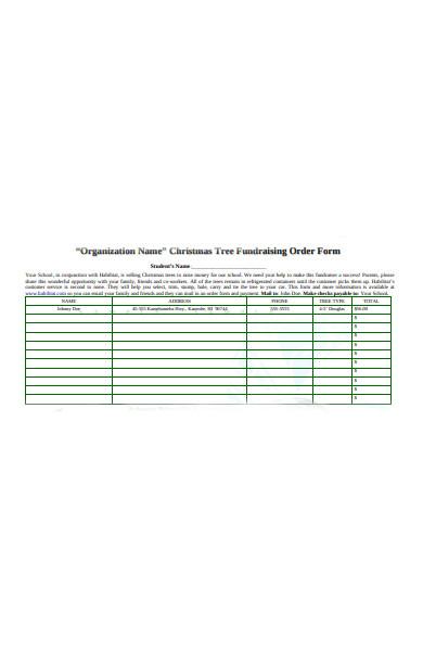 tree fundraising order form