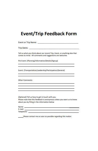 trip event feedback form