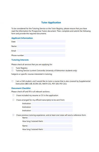 tutor application form sample