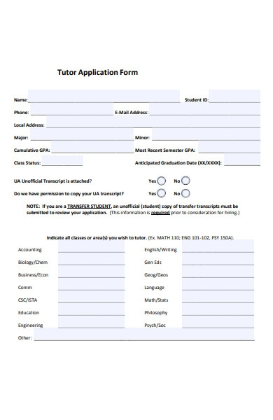 tutor classes application form