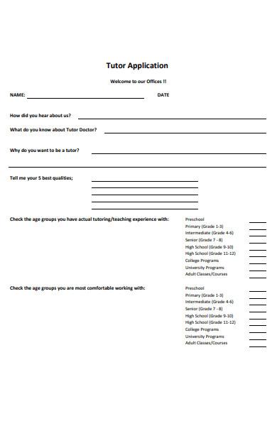 tutor doctor application form