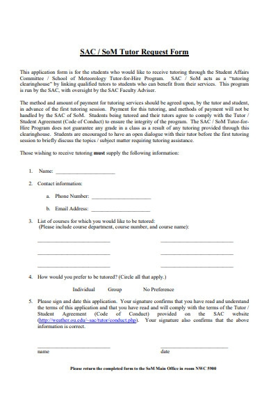 tutor request form template