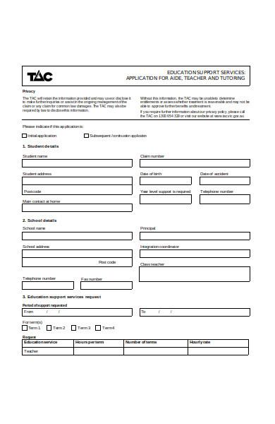 tutor training application form