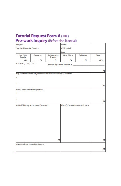 tutorial request form