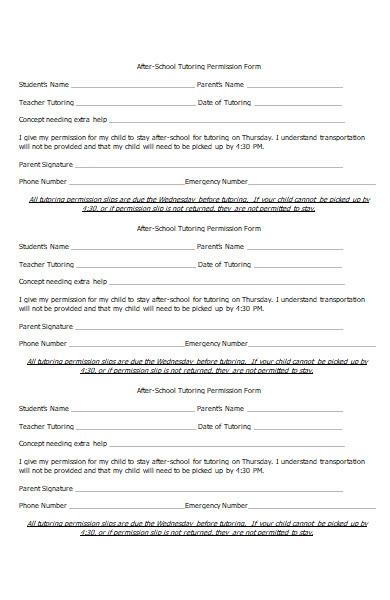 tutoring permission request form