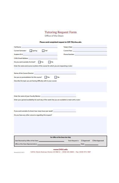 tutoring request form in pdf