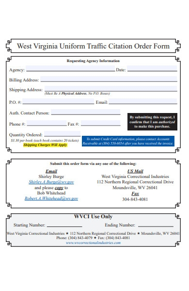 uniform traffic citation order form