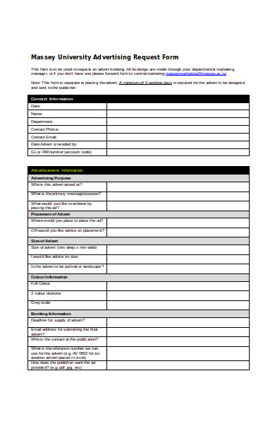 university advertising request form