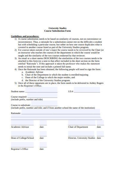 university studies course substitution form
