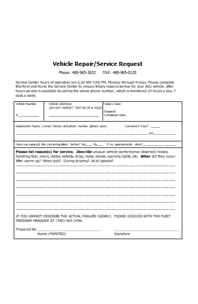 vehicle repair service request order form