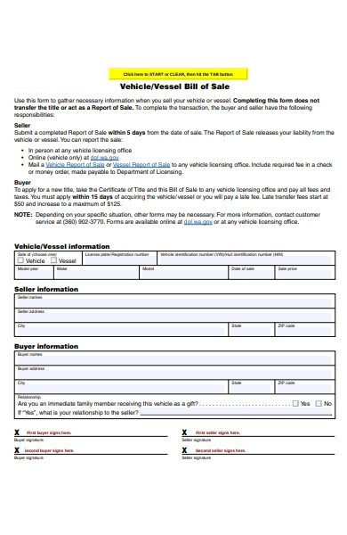 vehicle sale forms