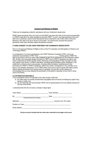 video consent and release of rights form