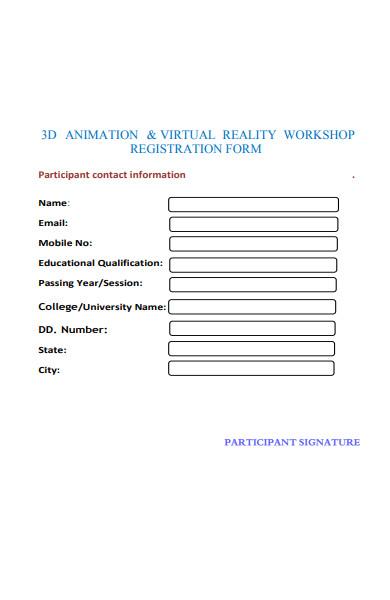 virtual reality workshop registration form
