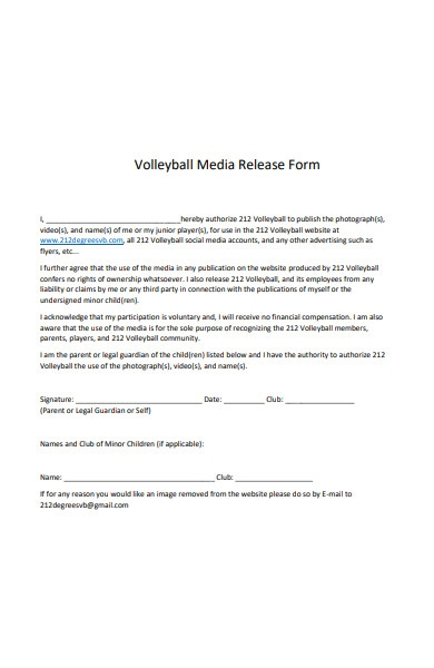 volleyball media release form