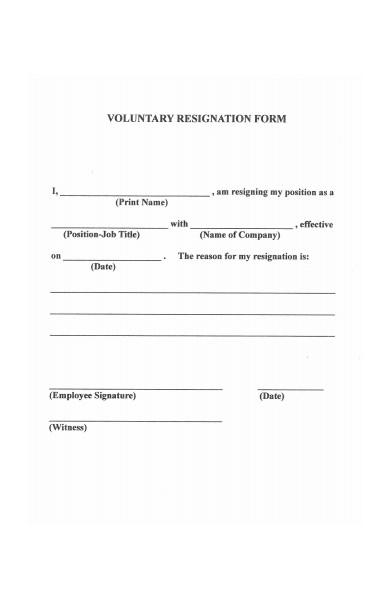 voluntary employee resignation form
