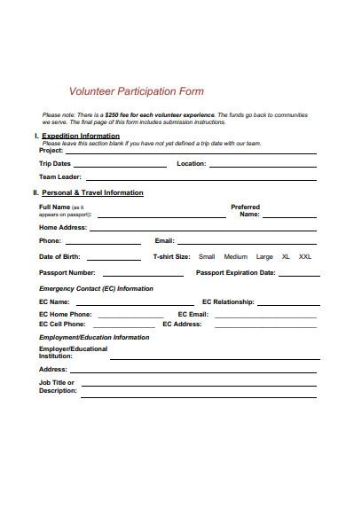 volunteer participation form