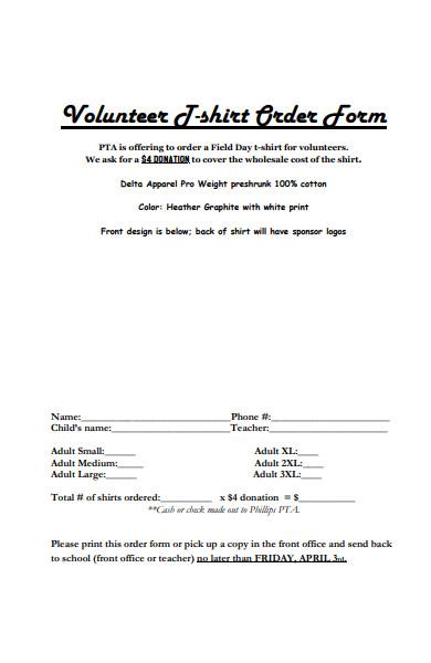 volunteer t shirt order form