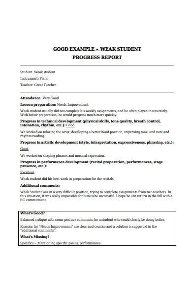 weak student progress report forms