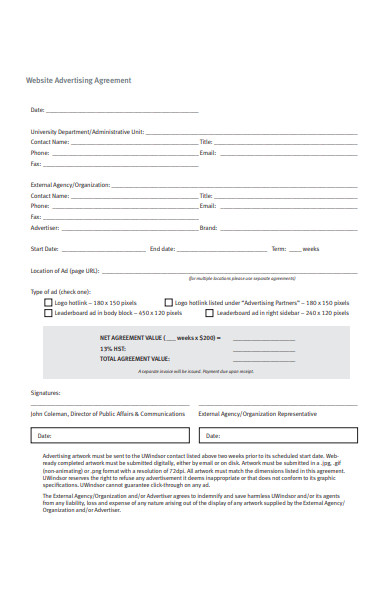 website advertising agreement form