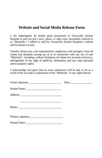 website media release form