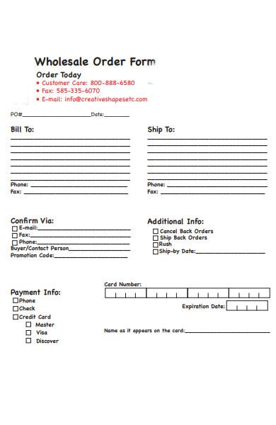 wholesale cake order form
