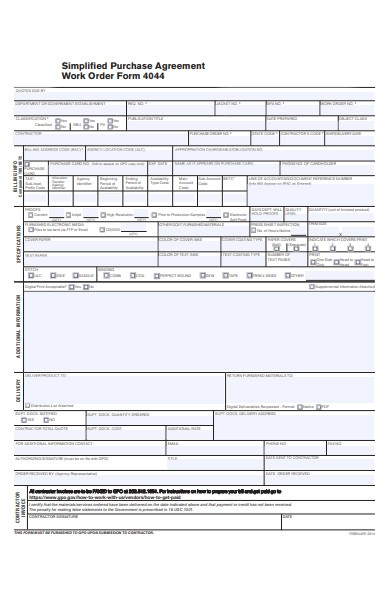 work order agreement form