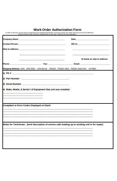 work order authorisation form