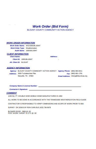 work order information form