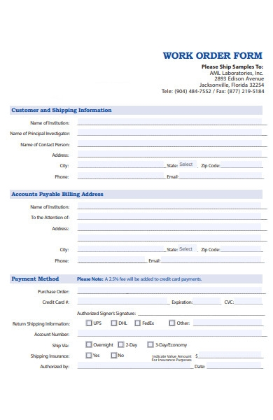work order payment form