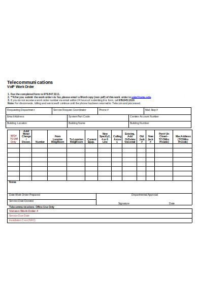 work order summary form