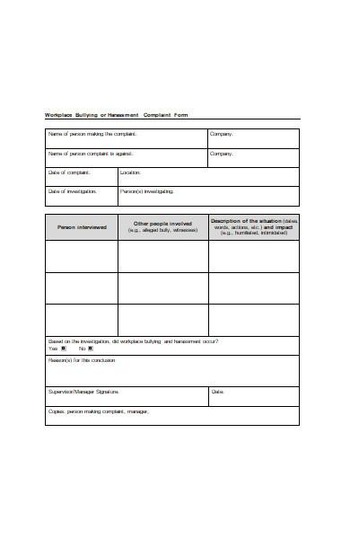 work place harassment complaint form