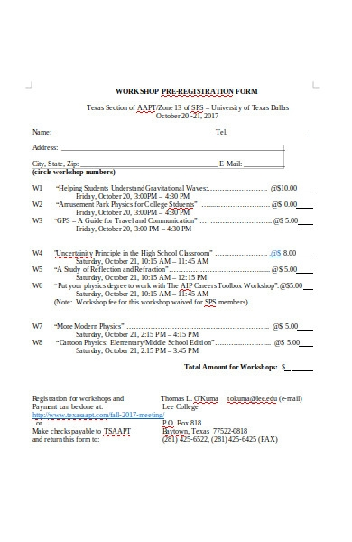workshop pre registration forms