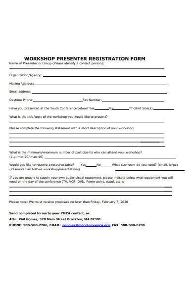workshop presenter registration form