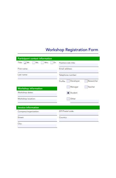 workshop registration form template