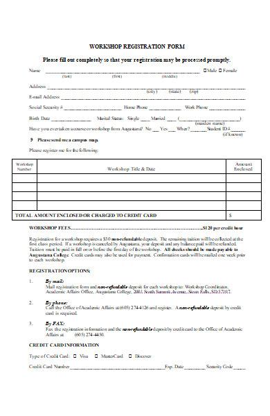 workshop registration form in ms word