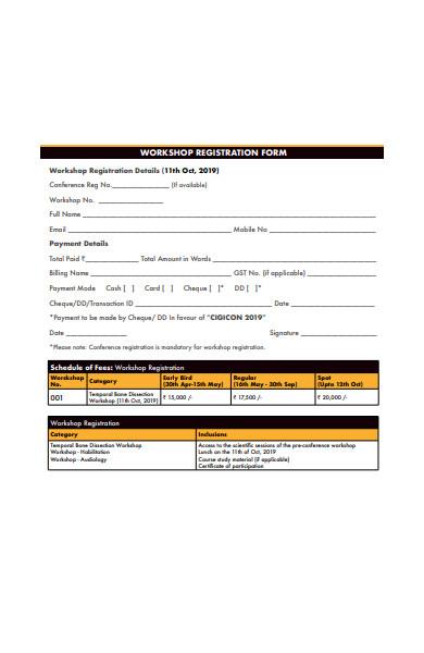 workshop registration form in pdf