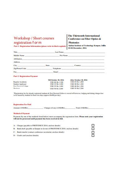 workshop short courses registration form1