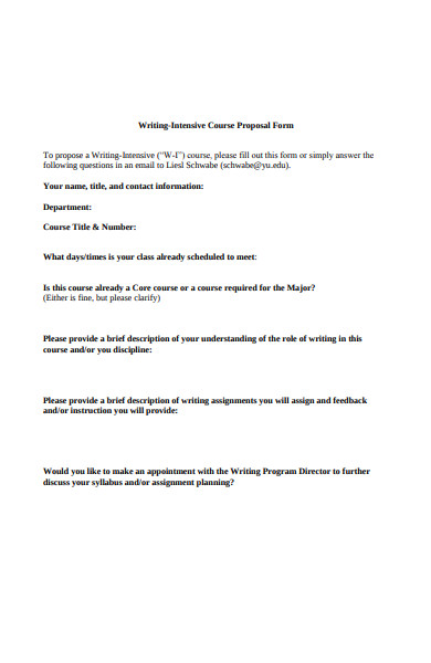 writing intensive course proposal form