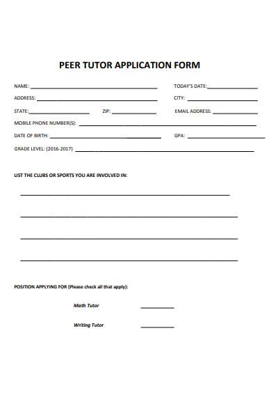 writing tutor application form