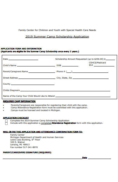 youth summer camp application form