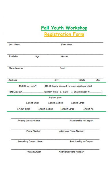 youth workshop registration form