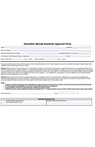 abroad academic approval form