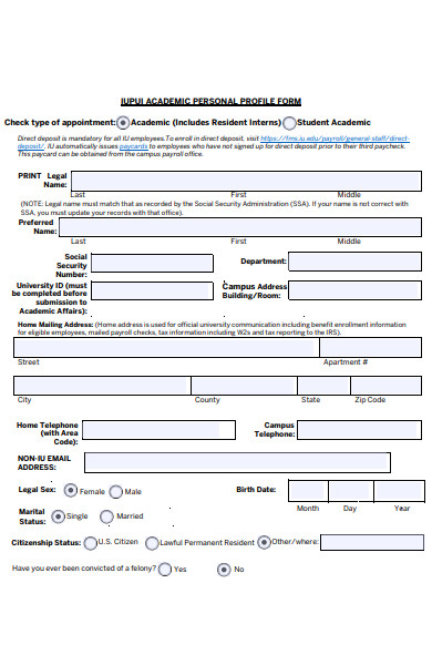 academic personal profile form