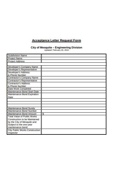 acceptance letter request form