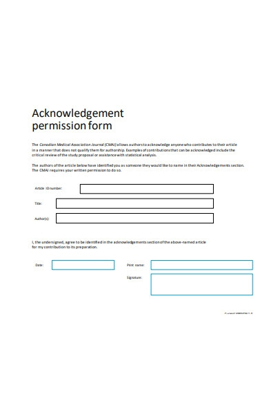 acknowledgment permission form