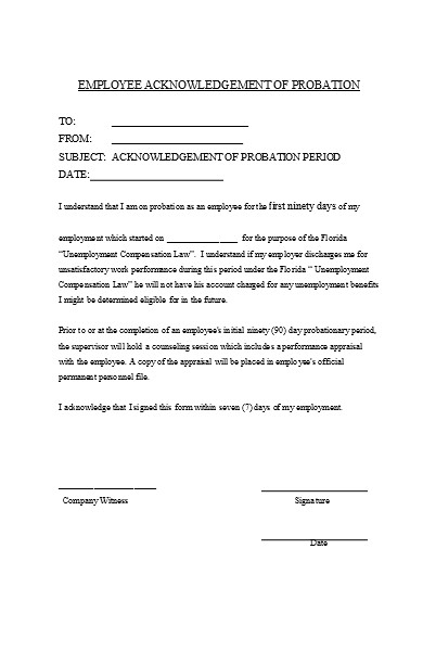 acknowledgment probation form