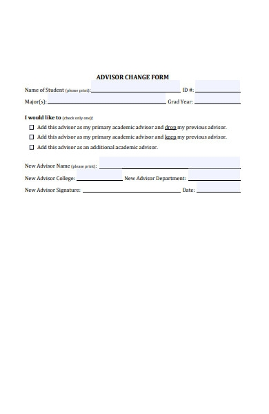 advisor change form